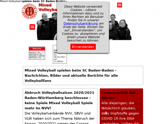 Tablet screenshot of www.scbad.de