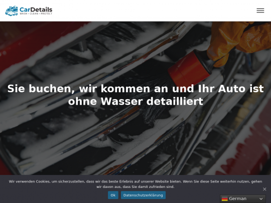 Tablet screenshot of www.cardetails.ch