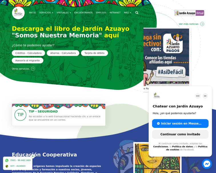 Screenshot of www.jardinazuayo.fin.ec