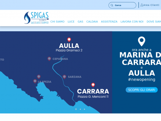 Tablet screenshot of www.spigasclienti.it