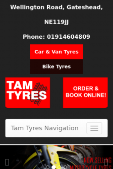 Mobile screenshot of www.tamtyres.co.uk