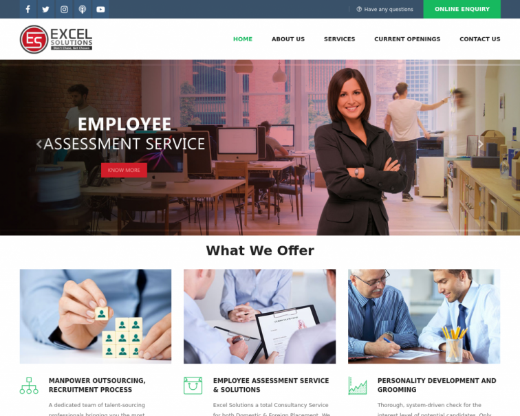 Screenshot of www.excels.co.in