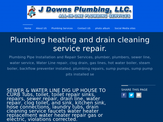 Tablet screenshot of www.jdownsplumbingllc.org