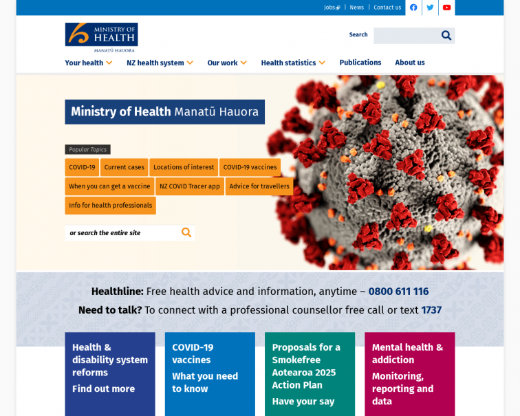 Screenshot of www.health.govt.nz