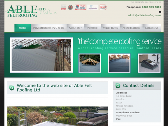 Tablet screenshot of www.ablefeltroofing.co.uk
