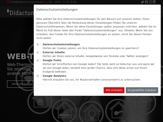 Tablet screenshot of www.web-thermometer.de