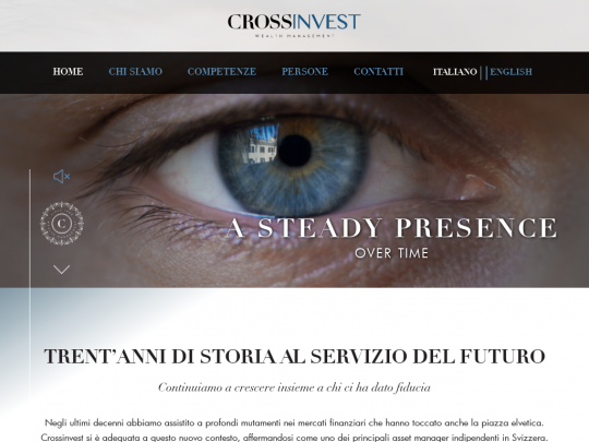 Tablet screenshot of www.crossinvest.ch