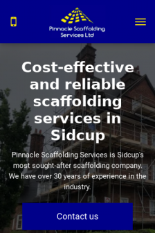 Mobile screenshot of www.pinnaclescaffolding.co.uk