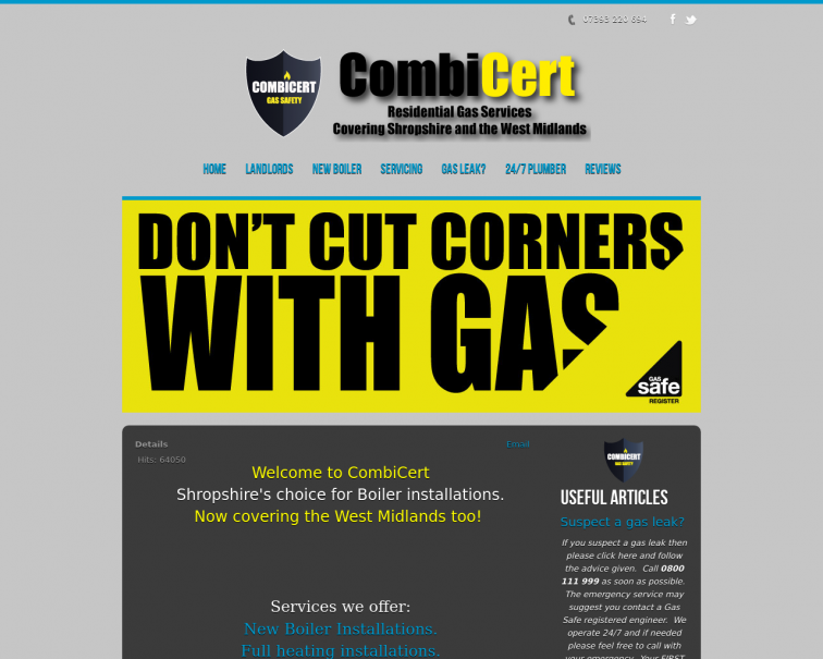 Screenshot of www.combicert.co.uk