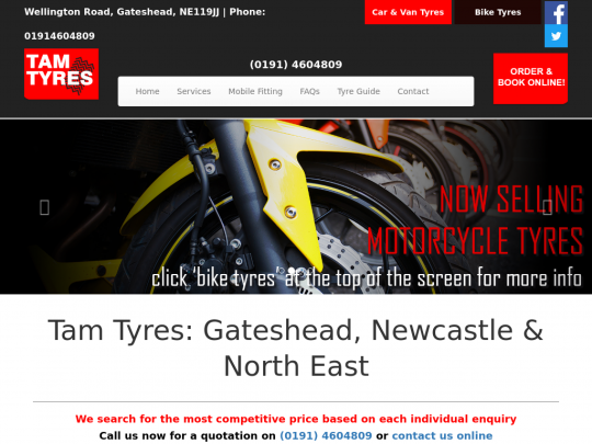 Tablet screenshot of www.tamtyres.co.uk
