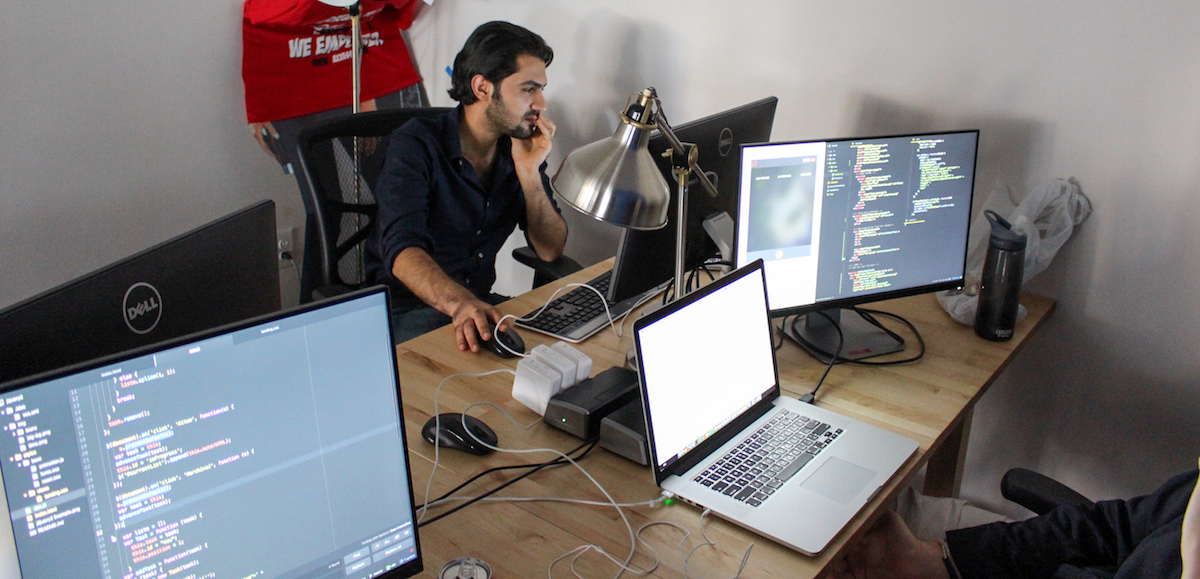 Refugee from Iraq, Samer, learns to code at DevMountain Dallas.
