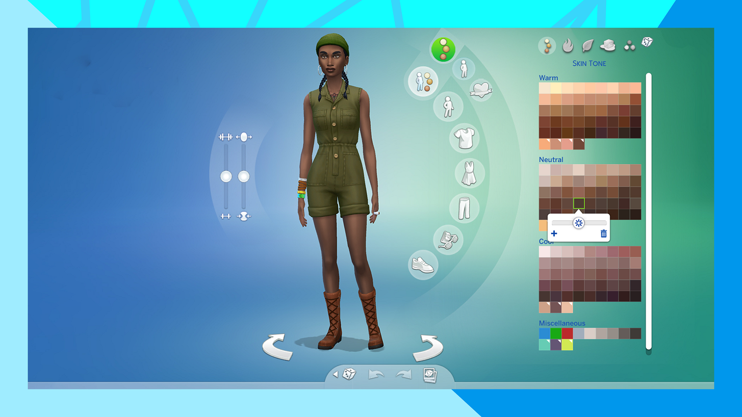 A picture from The Sims 4 indicating a sim with the new skin tone slider options