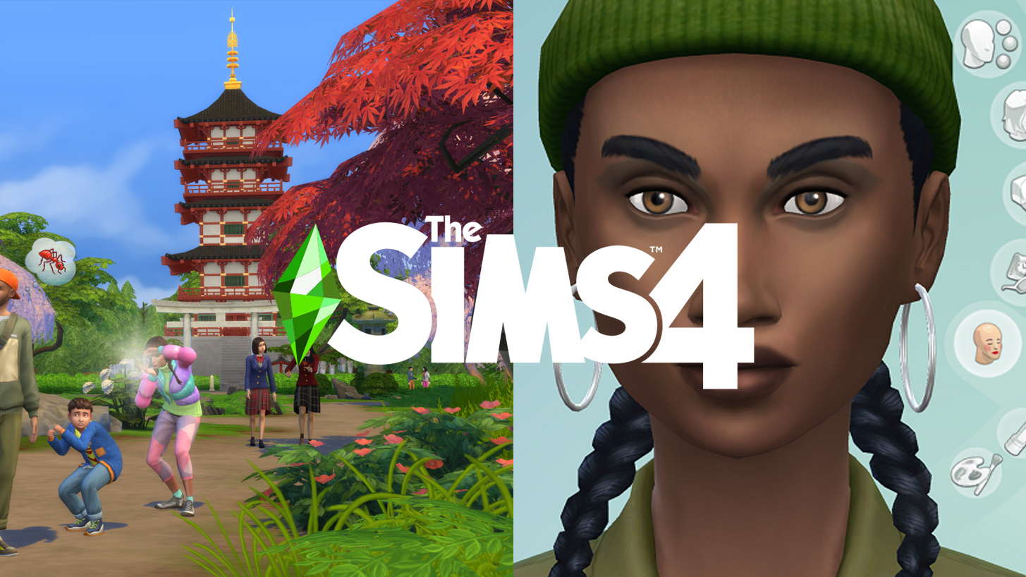 A picture of The Sims logo, with a woman in Create A Sim and an image from Snowy Escape