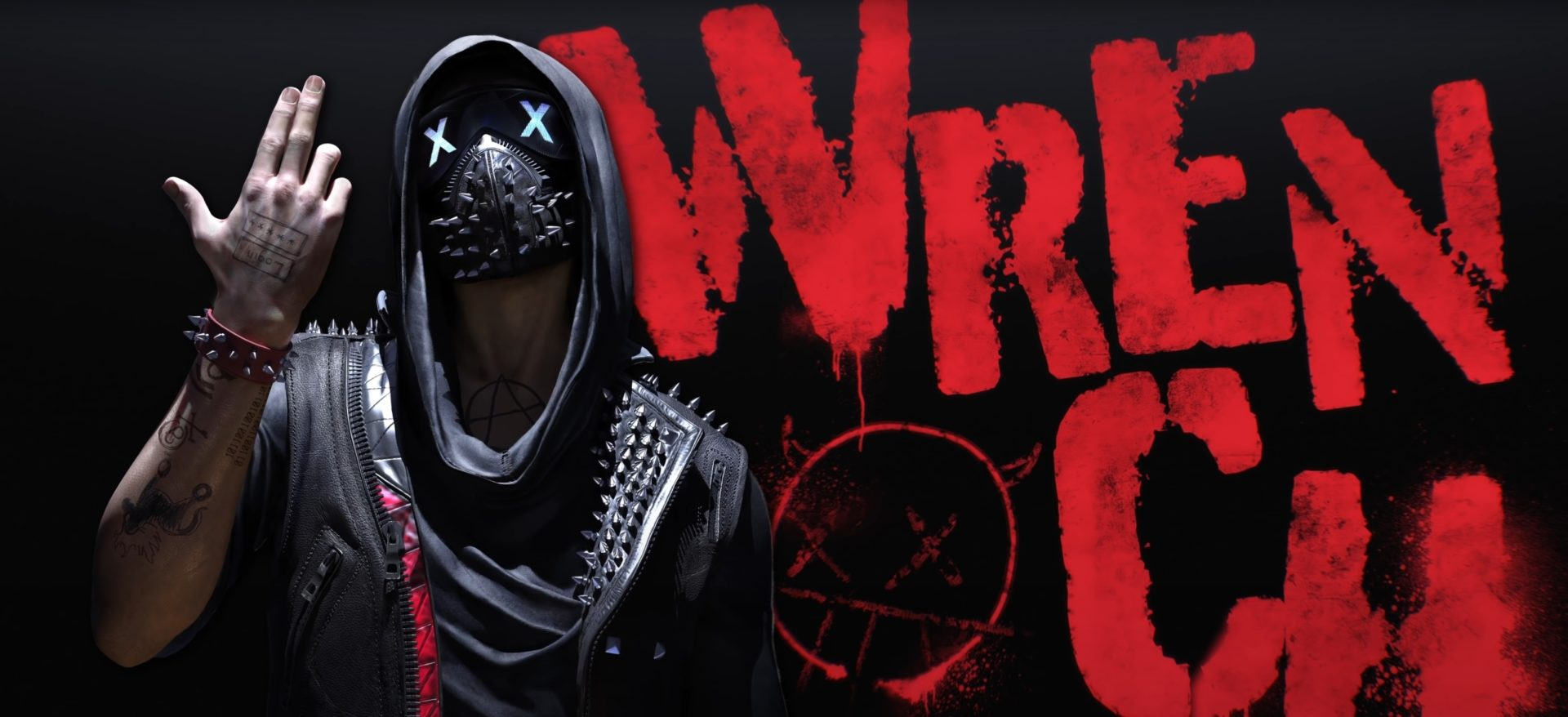 Image of the Watch Dogs character, Wrench, posing alongside his name graffitied on a black background