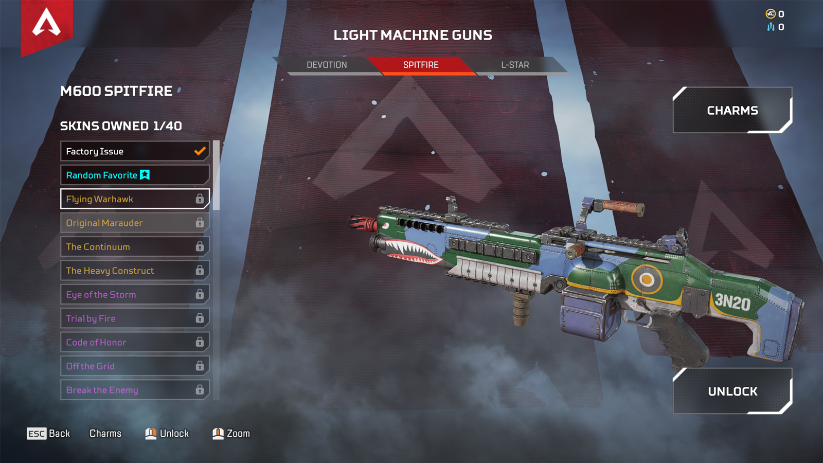 The M600 Spitfire in the Apex Legends loadout menu