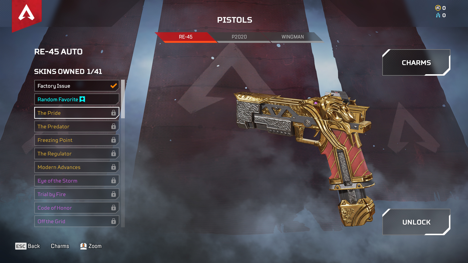 RE-45 Gun in the Apex Legends loadout menu