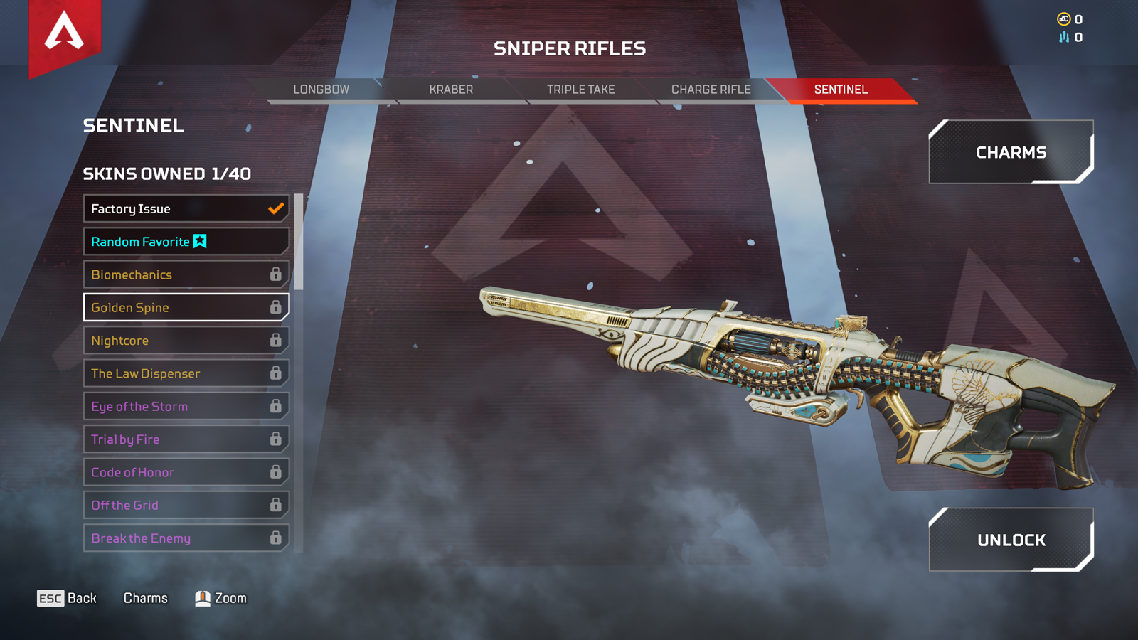 Sentinel in Apex Legends in the loadout menu
