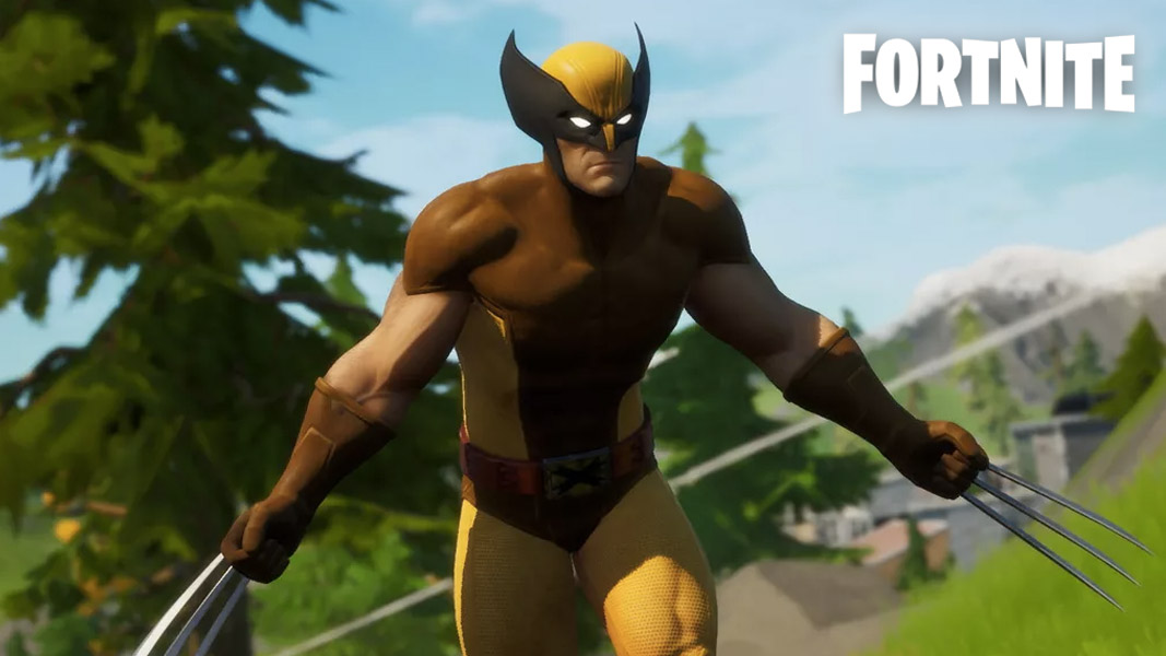 Wolverine running across the Fortnite map
