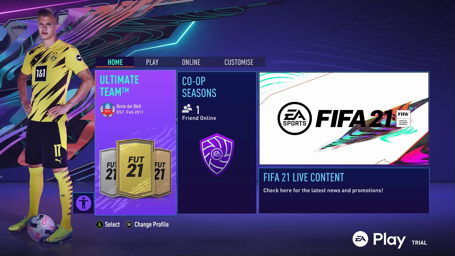 FIFA 21 menus