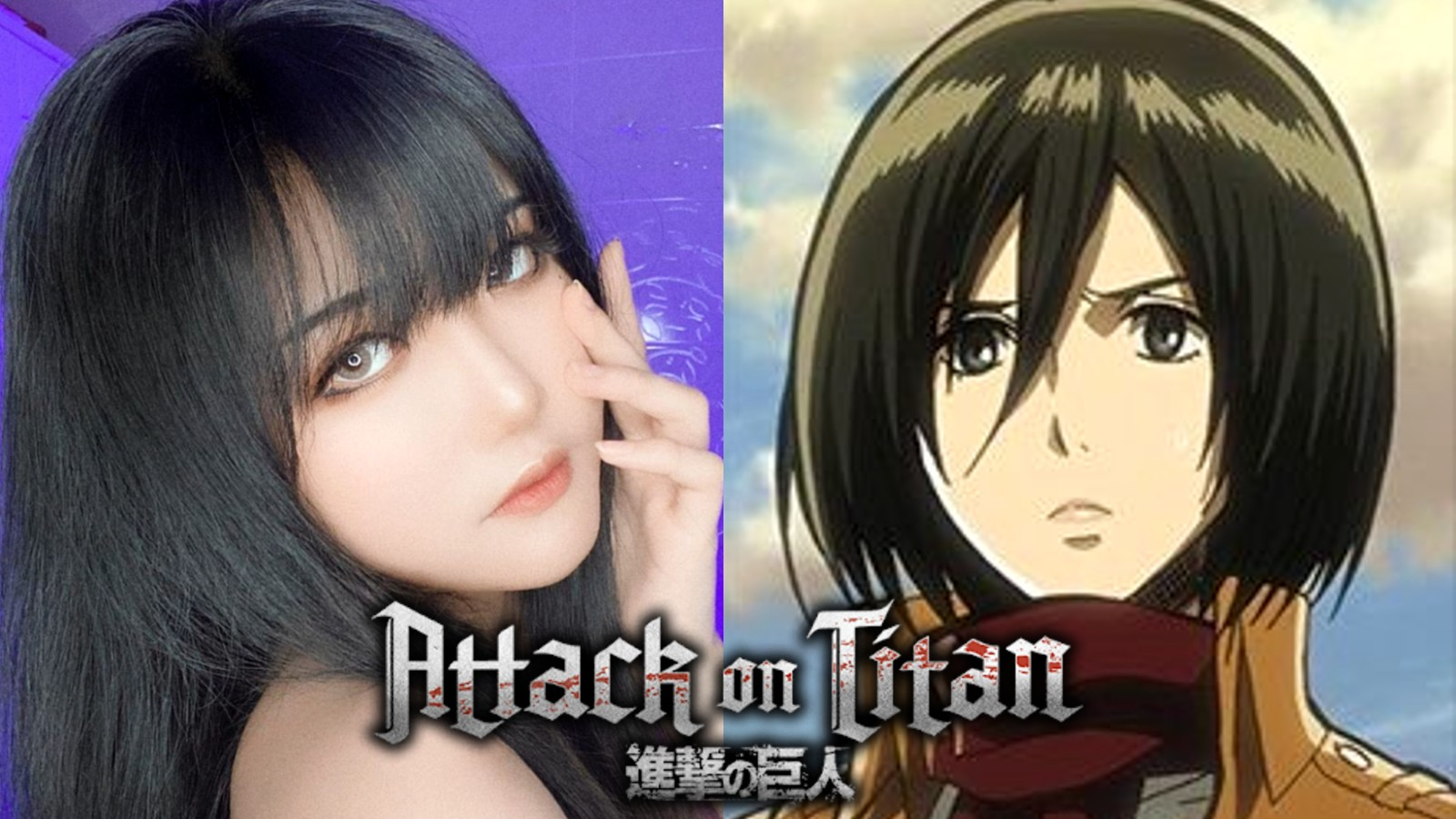 Cosplayer Anongnoon next to Mikasa from Attack On Titan