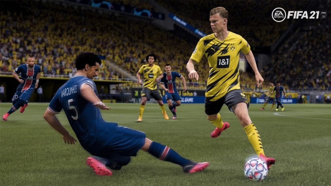 Erling Haaland avoiding a tackle in FIFA 21