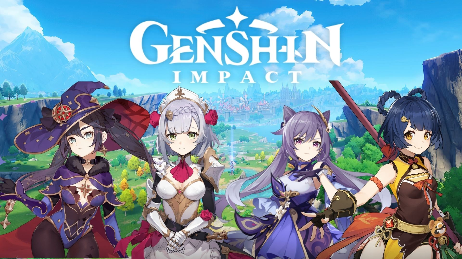 Genshin Impact characters next to the logo