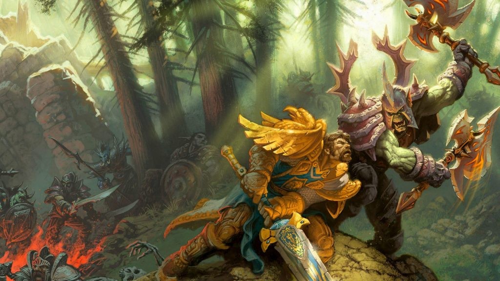 World of Warcraft artwork showing to characters doing battle in a forest.