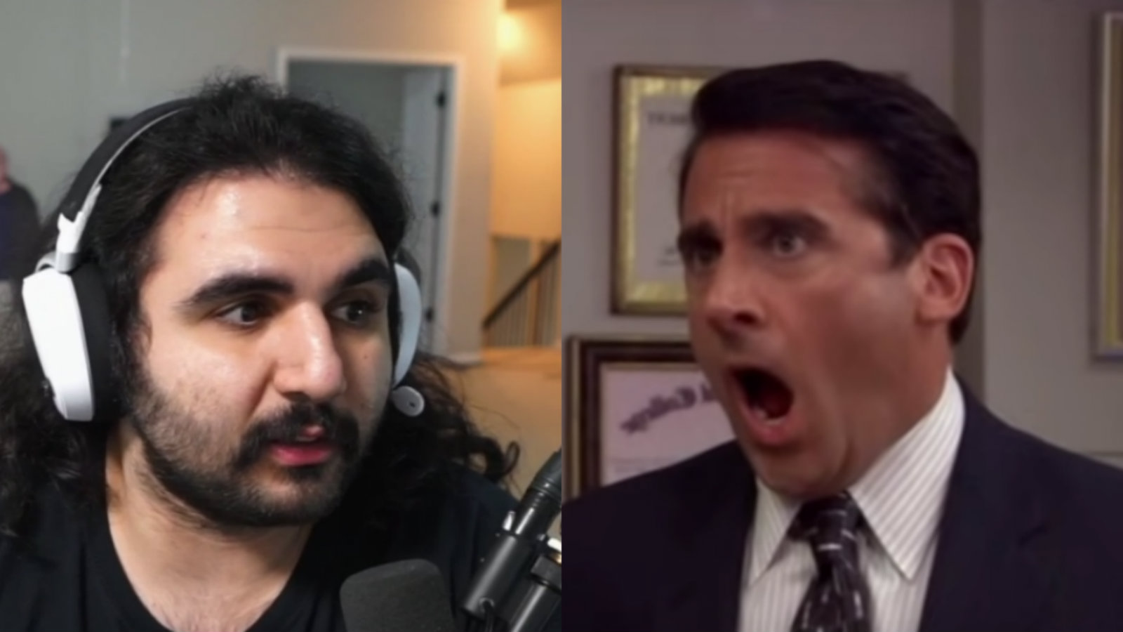 Esfand and Michael Scott from The Office
