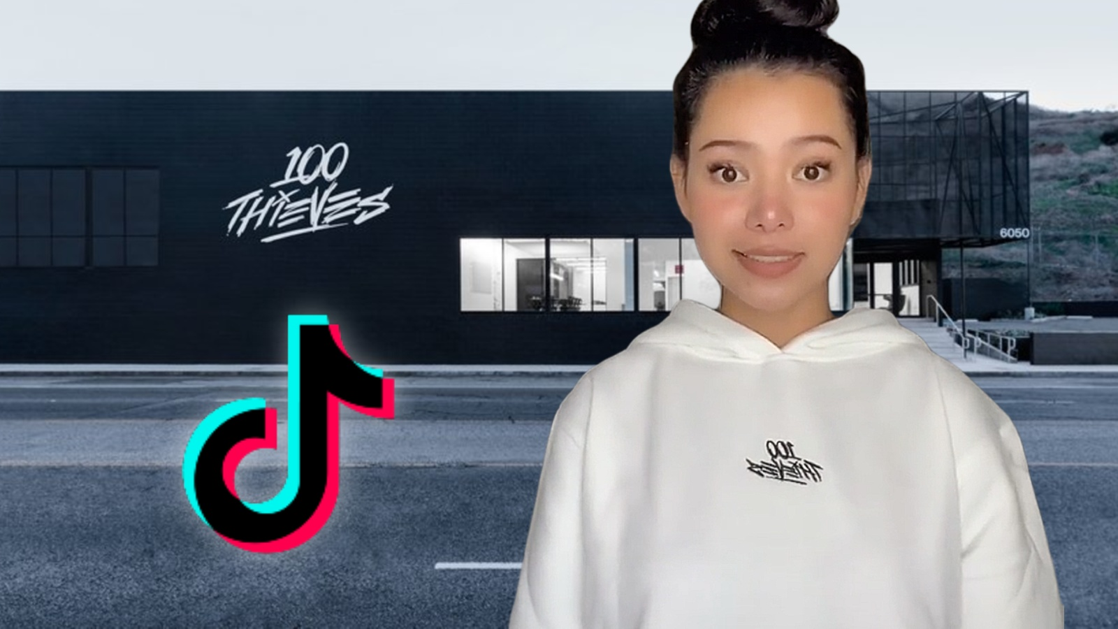 Bella Poarch is pictured next to the TikTok Logo and the 100 Thieves Cashapp Compound.