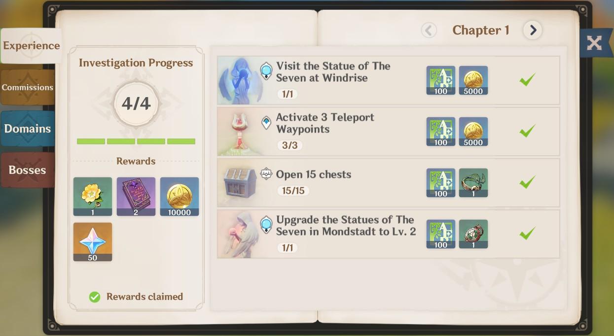 Screenshot of the Adventurer Handbook from Genshin impact