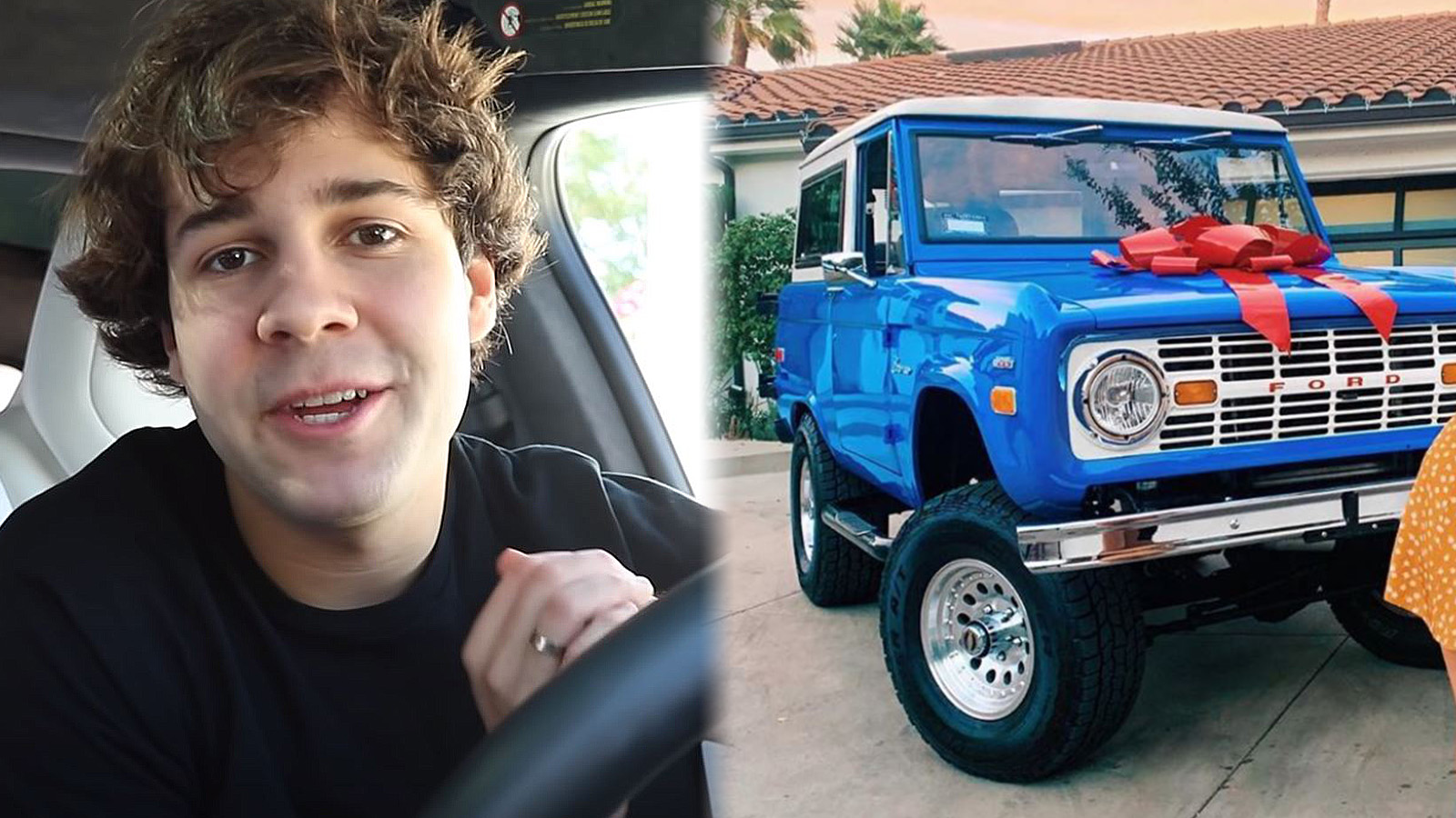 David Dobrik is shown next to his assistant's Ford Bronco.