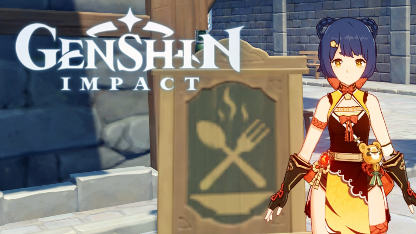 Genshin Impact character next to the logo