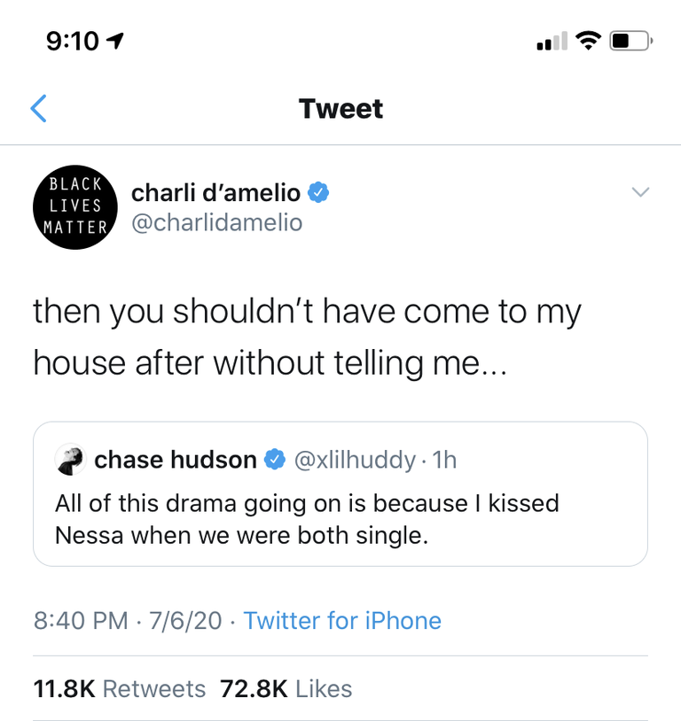 Charli D'Amelio calls out Chase Hudson on Twitter.