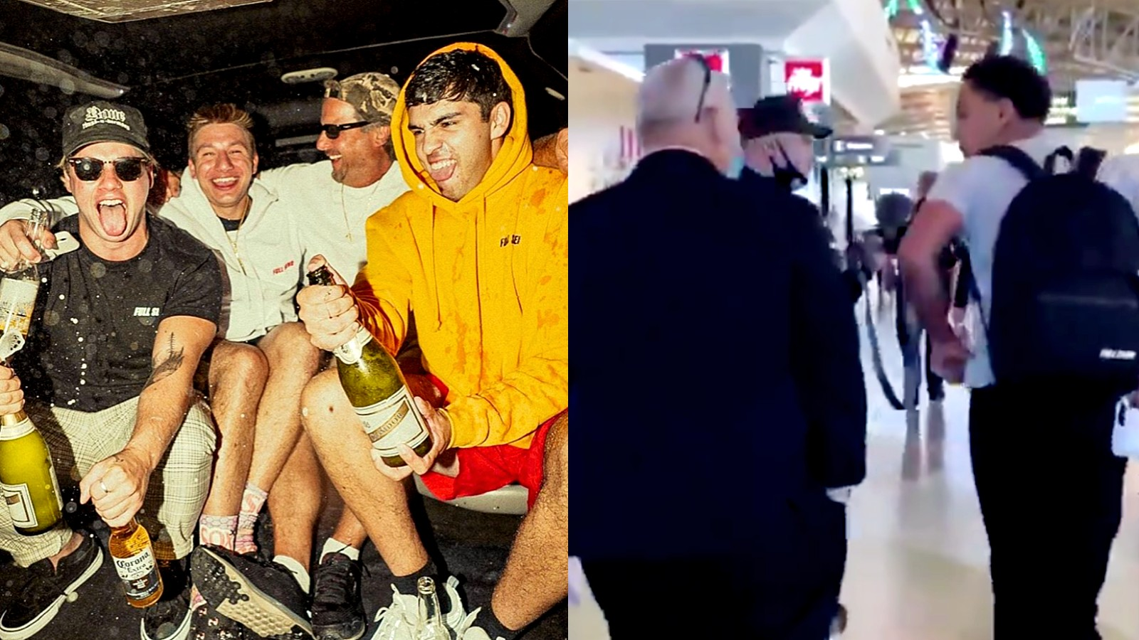 Image of the NELK boys next to image of them being apprehended by secret service