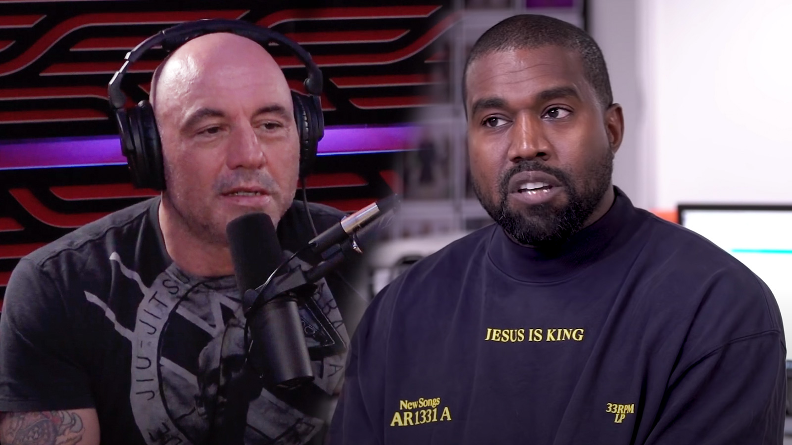 Joe Rogan is shown next to a photo of Kanye West.