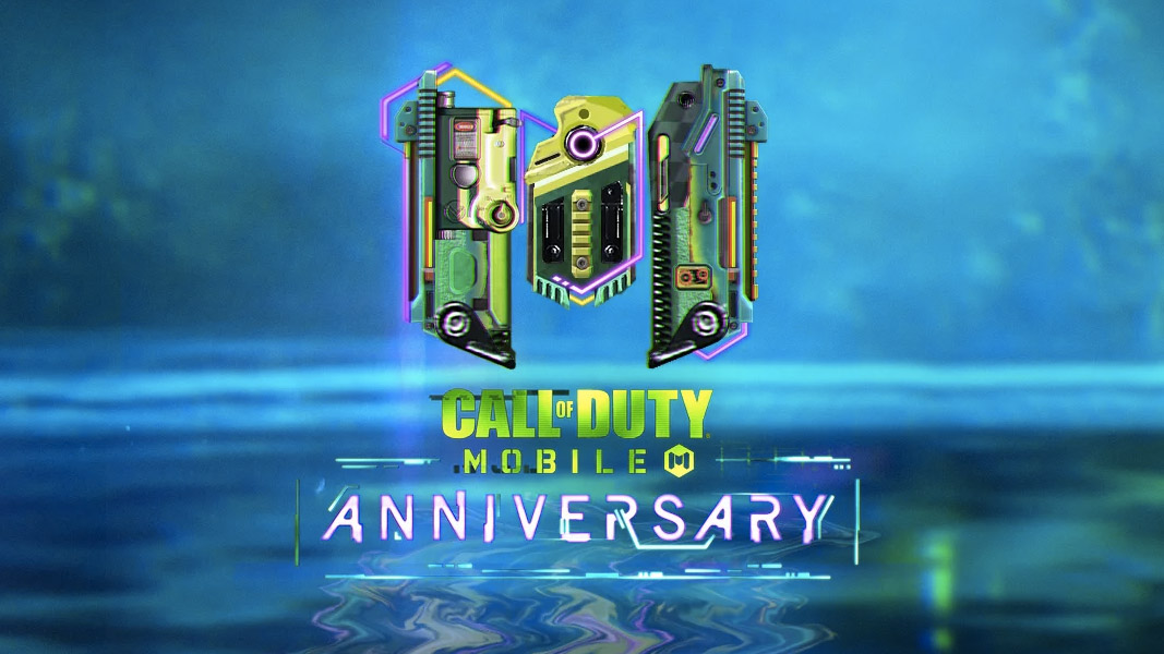 CoD Mobile anniversary logo in blue and green