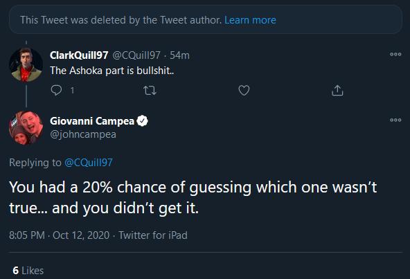 John Campea confirms Ahsoka