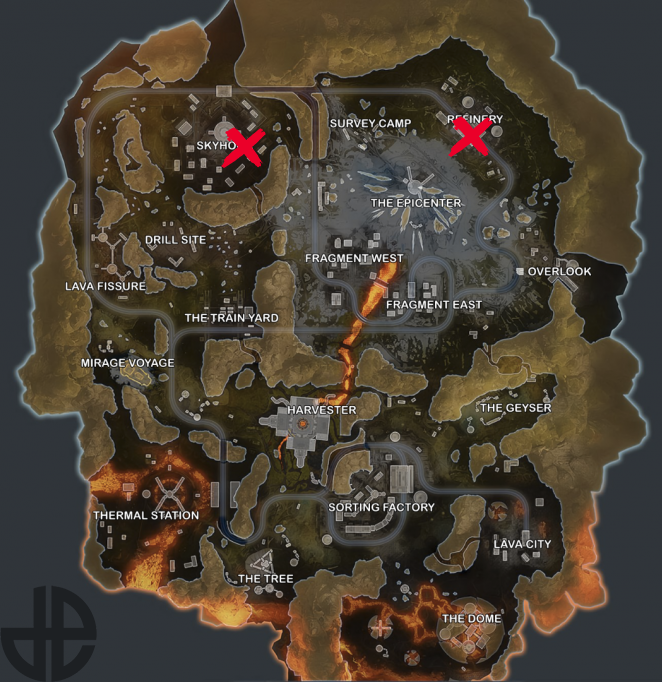 Map showing Gravity Lift locations on World's Edge.