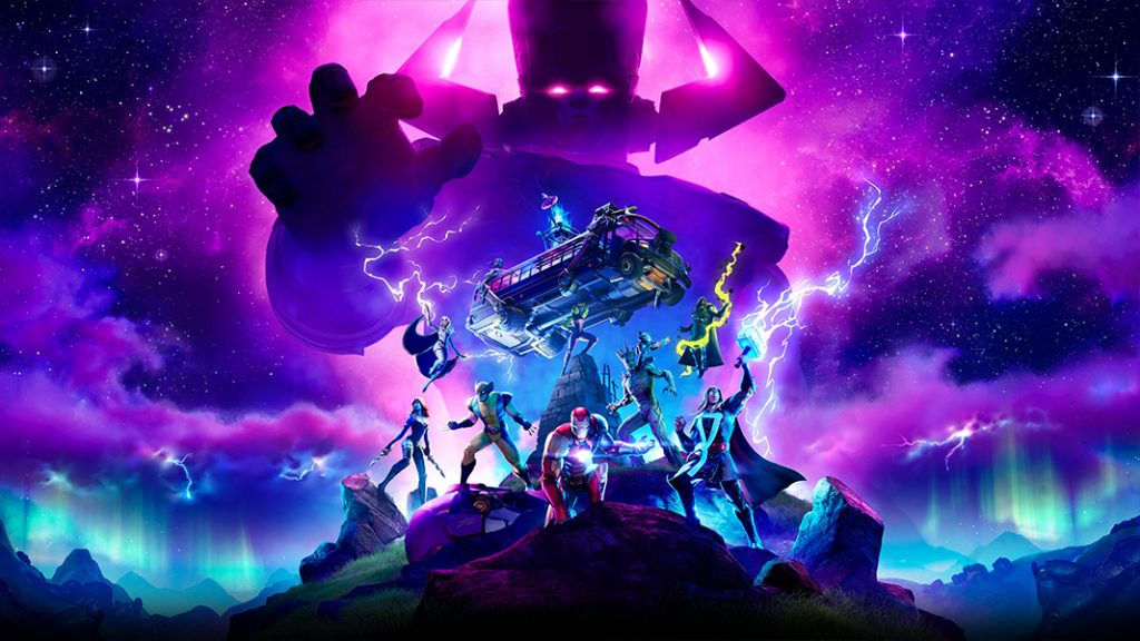 Galactus and Marvel hereos in fortnite