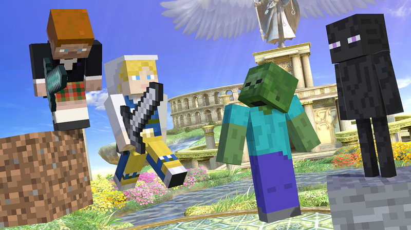 Minecraft Steve, Alex, Zombie and Enderman in Smash Ultimate