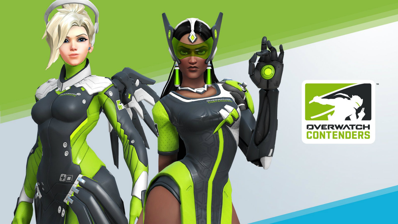 Mercy and Symmetra Overwatch Contenders skins