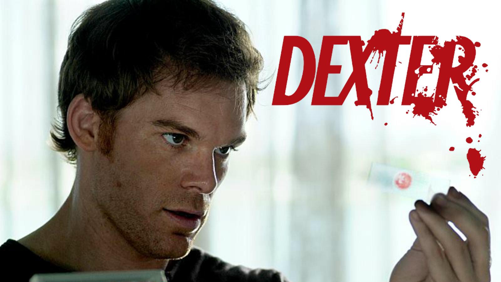Dexter stares at blood slide trophy
