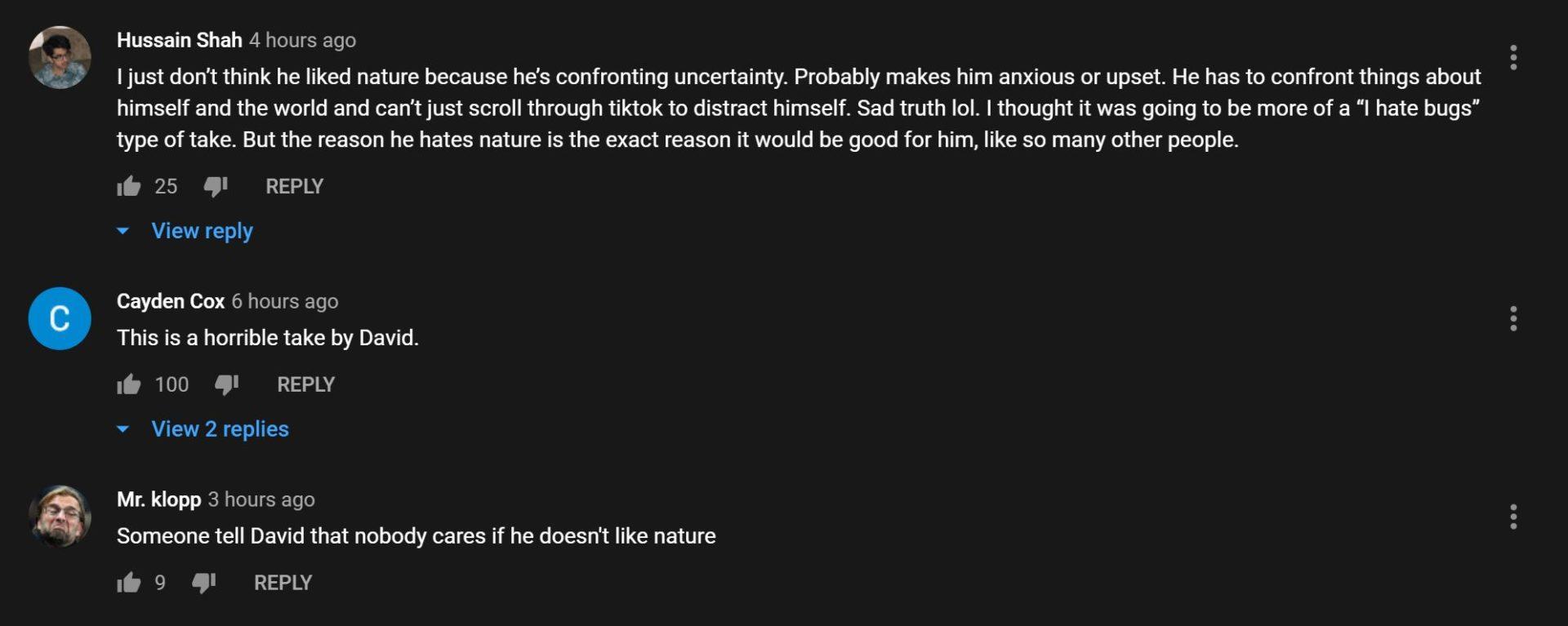 Commenters hit out at Dobrik's nature comments.