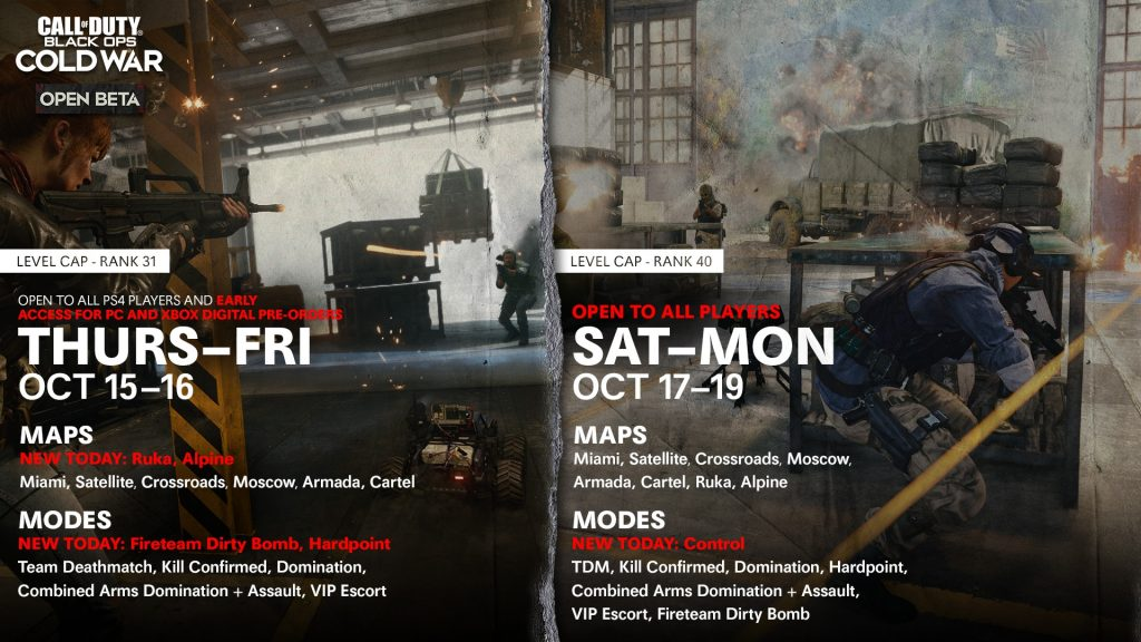 Black Ops Cold War Open Beta schedule