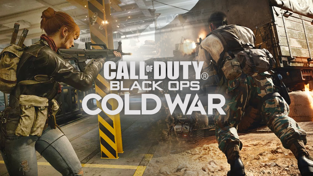 Black ops Cold War gameplay with logo on top