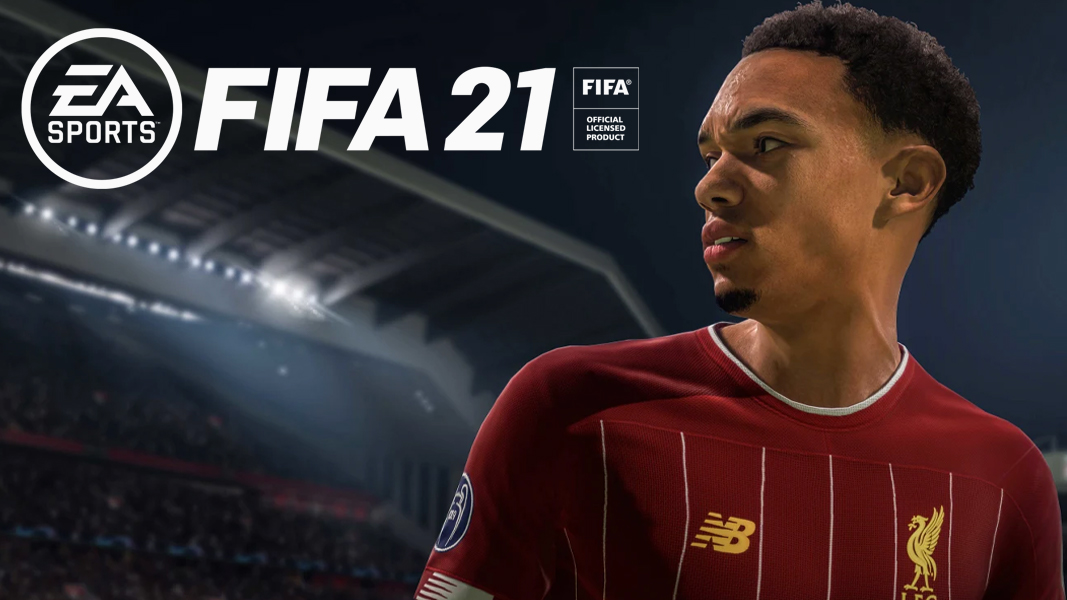 Trent Alexander Arnold in FIFA 21 next to logo