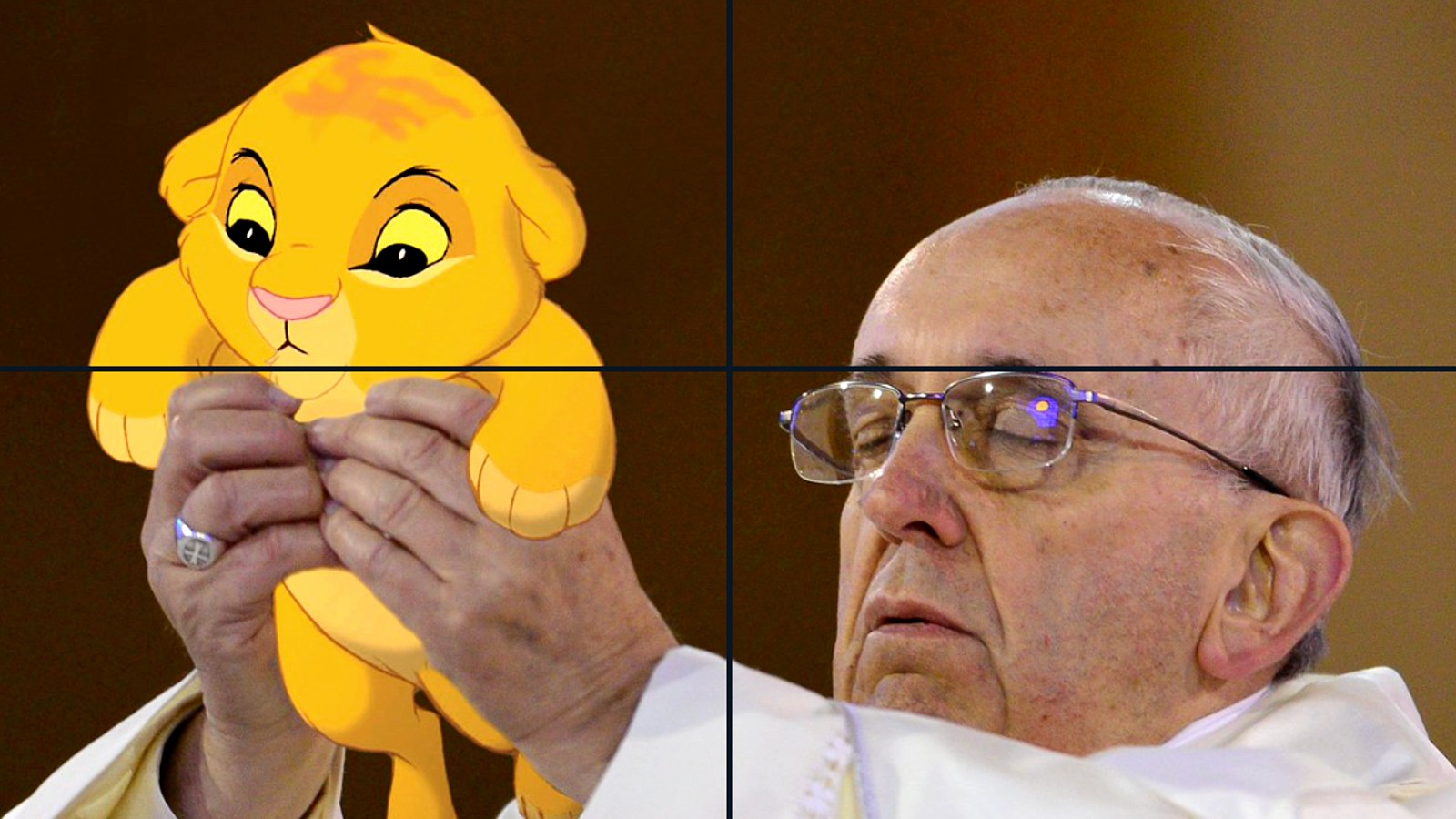 The Pope holds Simba from The Lion King
