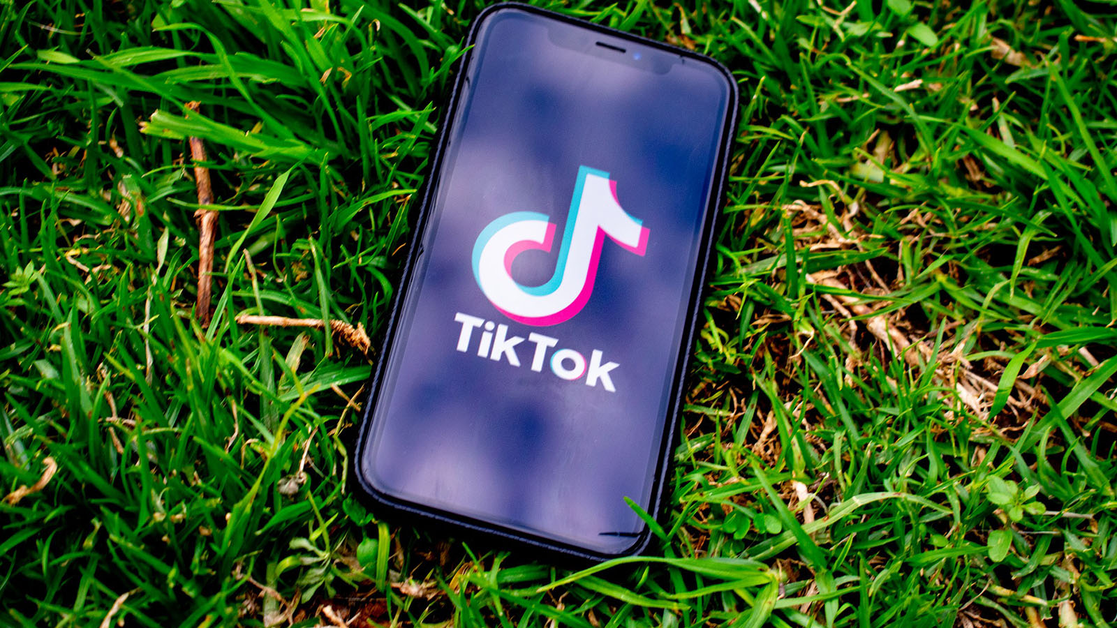 TIkTok on phone laying on grass