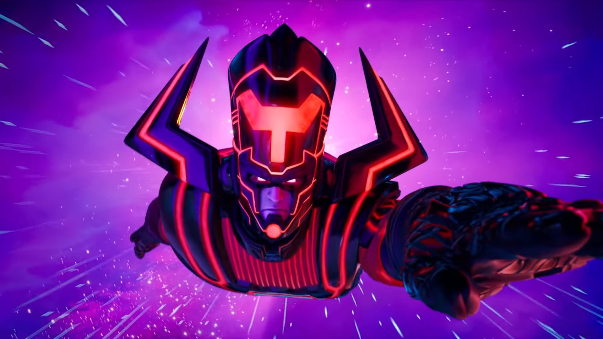 Galactus flying towards the screen in Fortnite