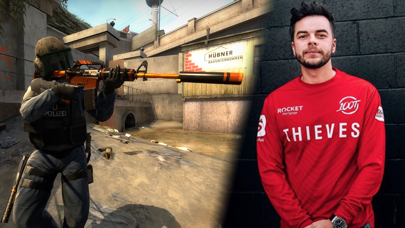 Nadeshot wearing a 100 Thieves jersey.